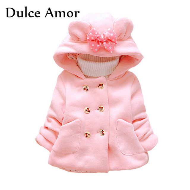design de qualité 5371f 61a59 US $12.31 24% OFF|Dulce Amor Fashion Girls Minnie Jackets Baby Girl Winter  Clothes Toddler Warm Coat Cotton Thickening Hooded With Bow Outerwear-in ...
