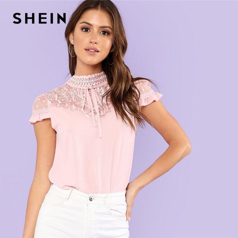 41fbc94fbd SHEIN Pink Embroidery Mesh Yoke Weekend Casual Blouse Women Stand Collar  Cap Sleeve Lace Plain Blouse 2018 Summer Elegant Blouse