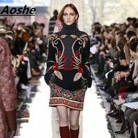 Luxury Designer Wool Sweater Women 3D Flora Embroidery Vintage Knitwear 2017 Winter Turtleneck Pullover Warm Jumper