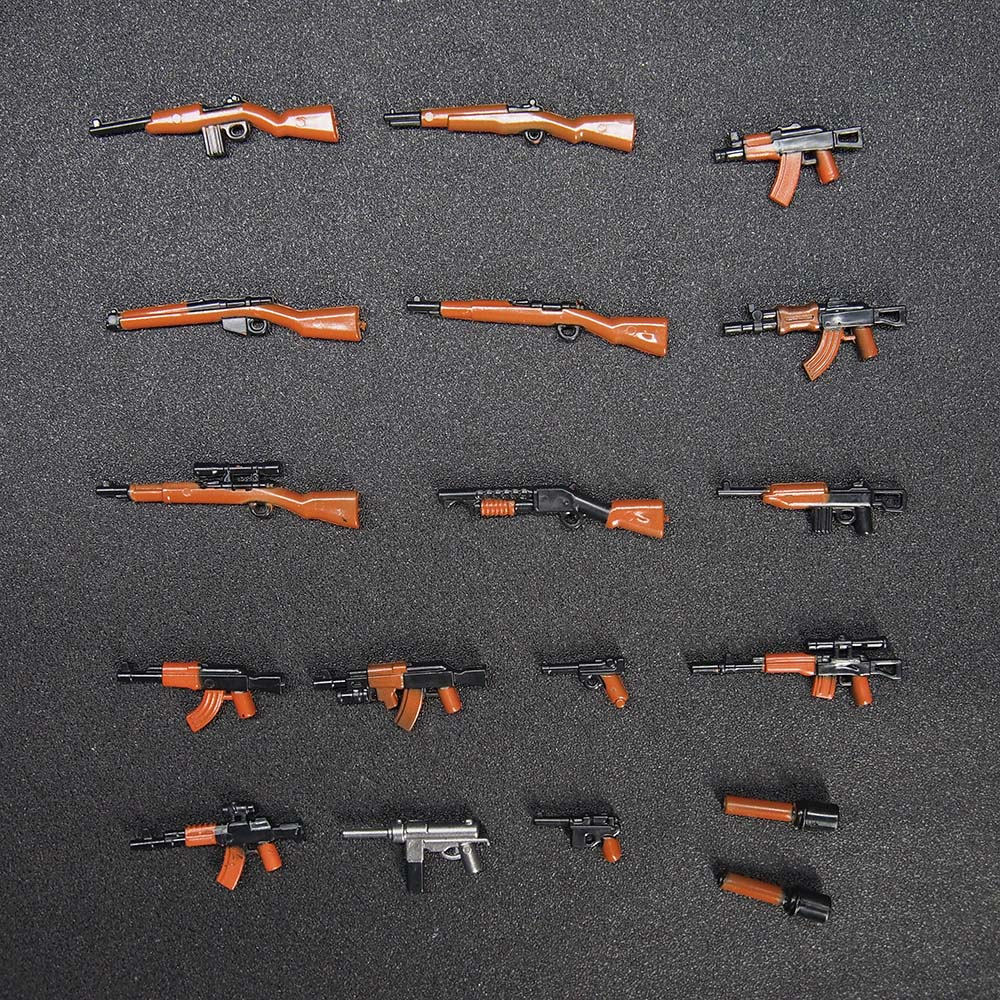 18PCS MOC Weapon Pack Military Swat Police GUN Building Blocks Brick Arms WW2 World War Blocks Toys military swat team city police armed