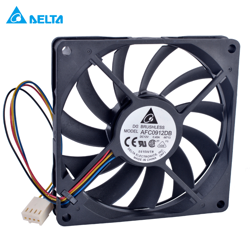 все цены на DELTA AFC0912DB 90mm fan 9015 90x90x15mm 12V 0.45A Double ball bearing 4 wire 4pin PWM computer CPU cooler thin cooling fan онлайн