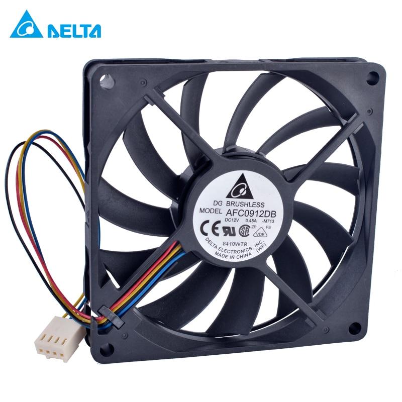 Delta AFC0912DB 90mm ventilador 9015 90x90x15mm 12 V 0.45A doble Cojinete de bolas 4 alambre 4pin PWM ordenador CPU cooler ventilador de refrigeración Delgado