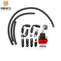 CNSPEED Universal Adjustable Fuel Pressure Regulator Kit Oil 0-100psi Gauge Universal Black/Red-6AN Fit Oil cooler kit