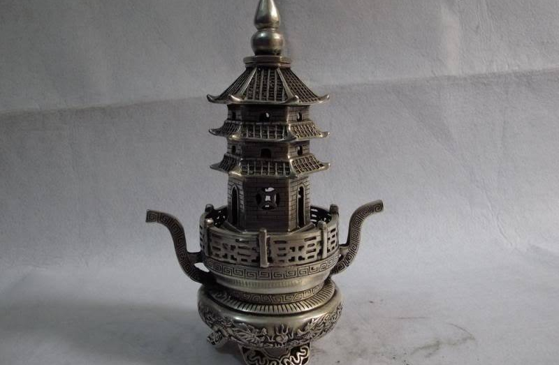 China white Copper silver 2 Dragon play bead Tower pagoda censer incense burner