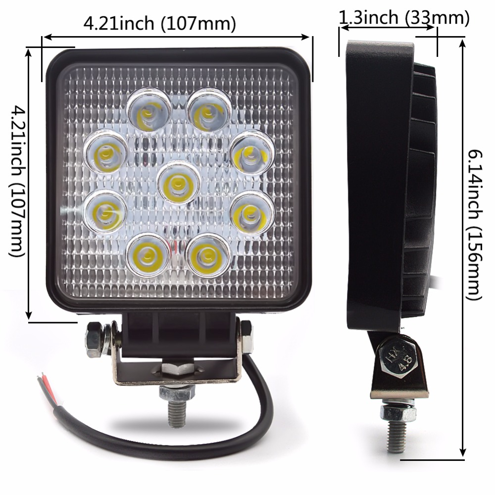 4PCS Λυχνία εργασίας LED 4 ιντσών 27W Λάμπα - Φώτα αυτοκινήτων - Φωτογραφία 3