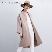 Amii Redefine Wool Coat Women Winter 2018 Casual Solid Mandarin Collar Single Breasted Pockets Loose Plus Size Long Wool Blends