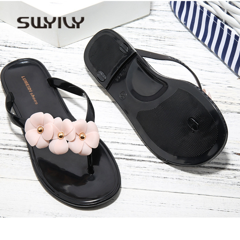 SWYIVY Womens Slippers Flip Flops Jelly Shoes 2018 Camellia Flower Woman Beach Slipper Summer Woman Jelly Casual Shoes Flat 40 4