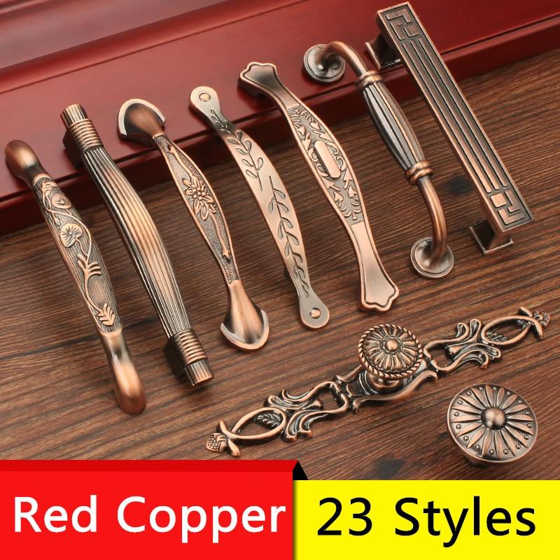 Carved Leaf Pattern Copper Tone Cabinet Door Handle Pulls 5