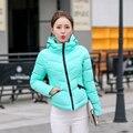 Mujeres abrigo de invierno nueva moda 2016 mujeres chaqueta de invierno cálido encapuchado ocasional más tamaño chaquetas delgadas mujeres abajo abrigos de algodón parka