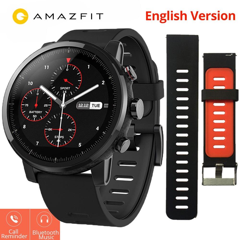 Xiaomi Huami Amazônia Stratos 2 Amazônia Ritmo 2 Smartwatch com GPS PPG 5ATM do Monitor de Freqüência Cardíaca À Prova D' Água