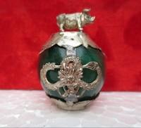 Metal artesanato collectible decorado antigo verde jade & tibete prata 12 porcos do zodíaco estátua transporte rápido 002