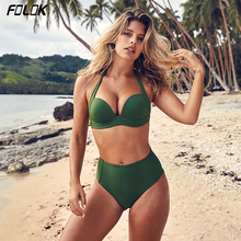 Folok Sexy High Waist Bikini Set Swimwear Women Swimsuit Push Up 2019 Womens Bikini Halter Top Bathing Suit Beachwear Biquini недорго, оригинальная цена