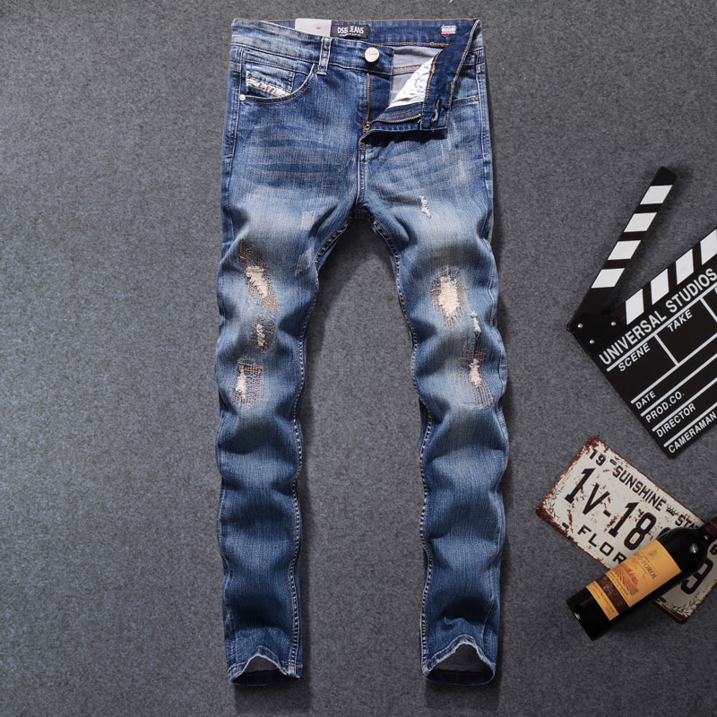 2017 High Quality Original Dsel Brand Men Jeans Fashion Designer Distressed Ripped Jeans Men Straight Fit Jeans Homme,701-B 2017 new original high quality dsel brand men jeans straight fit distressed ripped jeans for men dsel brand jeans home 604 a