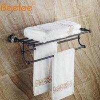 Beelee Solid Brass Oil Rubbed Bronze Towel bar Towel Rack Black Wall Mounted Towel Holder Bathroom Accesseries BA5203B