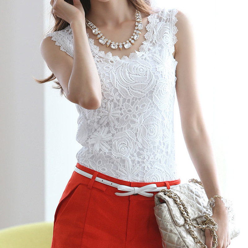 Para Mulheres Coletes Knitted Cotton Lace Women Vest Basics Plus Size Ladies Lace Shirt Regatta