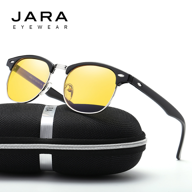 3fe20d5280c JARA New Fashion Retro Half Frame Rivet Computer Glasses Frame Men Optical  Glasses Yellow Lens UV400