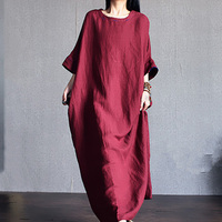 Half Sleeve Cotton Maxi Dress Plus Size Summer Dress High Waist Pleated Maxi Dress Women Vintage