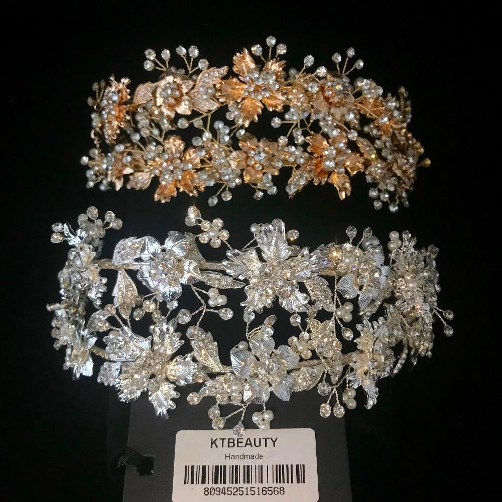 Nuevo de diamantes de imitación de plata/oro de gran Tiara hecho a mano diadema de novia de boda batas corona accesorio de joyería de las mujeres