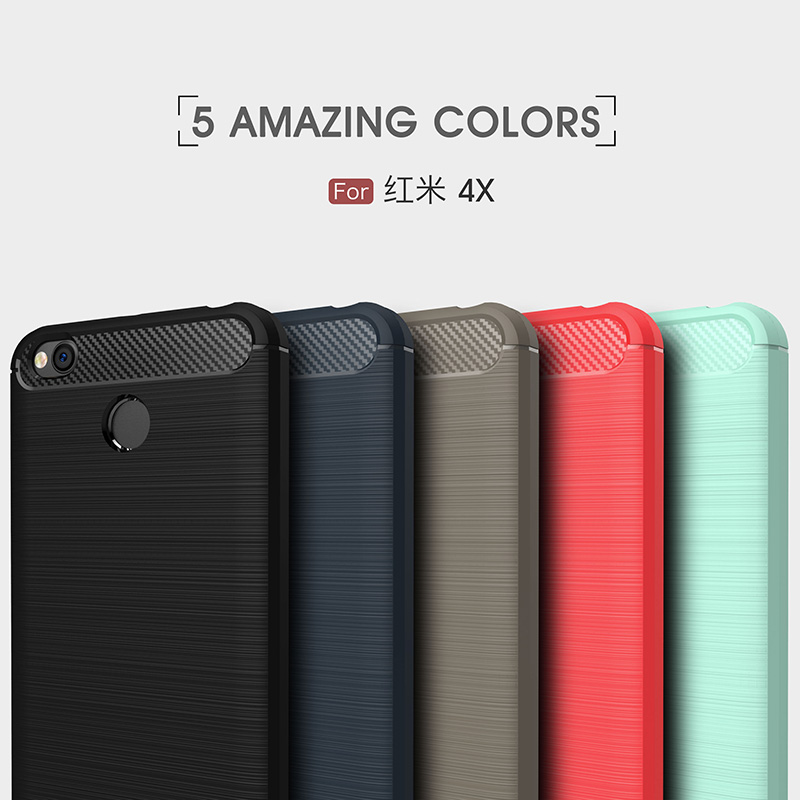 For Xiaomi Redmi 4X Case Silicone Brushed Carbon Fiber Texture Phone Case Fundas Redmi4X Cover Soft TPU Shockproof Protect Shell in Fitted Cases from Cellphones Telecommunications