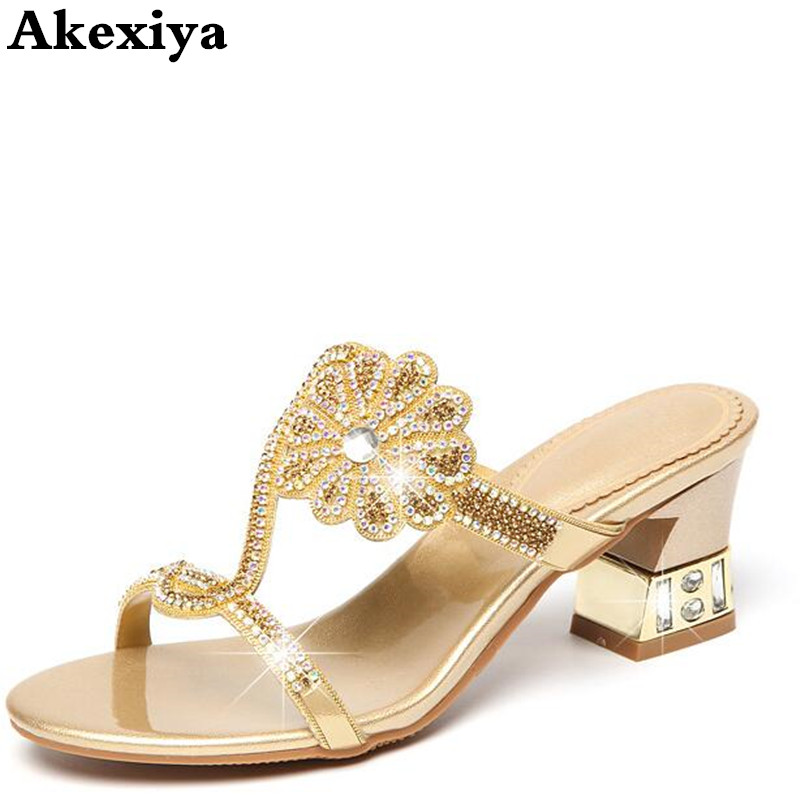 Sexy Diamond Fashion Casual Open Toe Slippers With Heel Womens Shoes Large Sizes High Heels Sandals