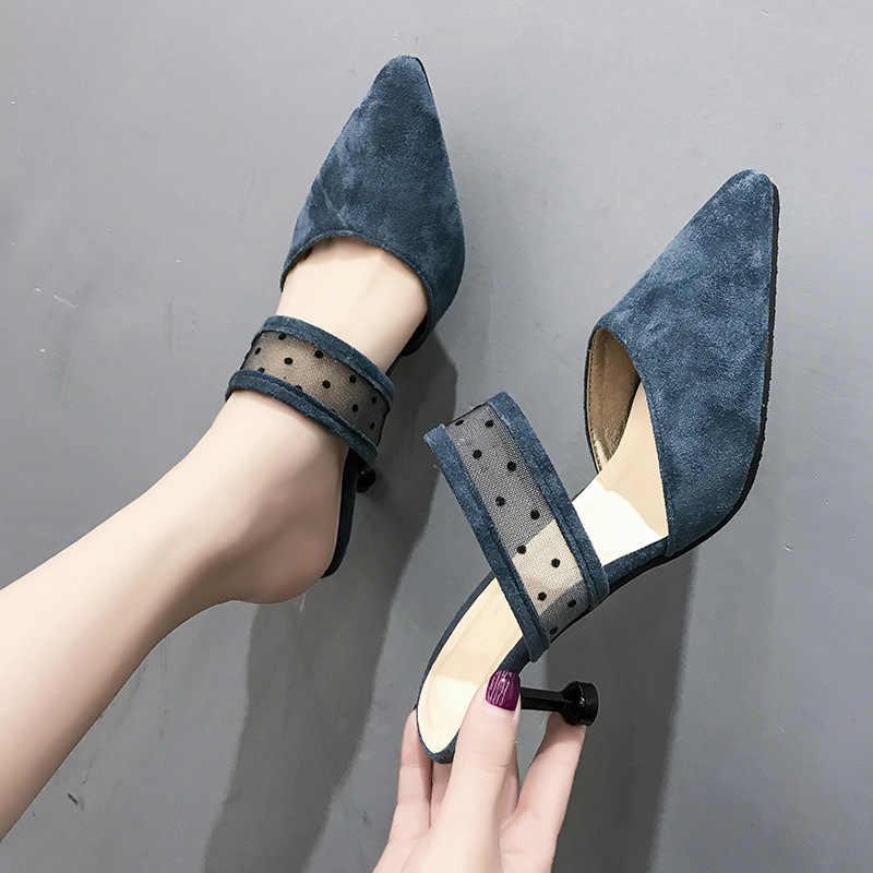 COWCOM seksi dantel yüksek topuklu moda terlikler yeni küçük boyutlu ince topuklu terlik kadın single ayakkabı SGLL-8905