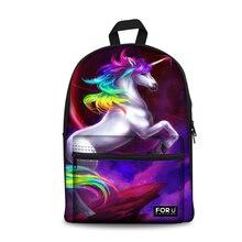 FORUDESIGNS Cute Women Backpacks 3D Rainbow Unicorn Printing Kids School Book Bags Cool Horse Head Rucksack for Travel Mochila