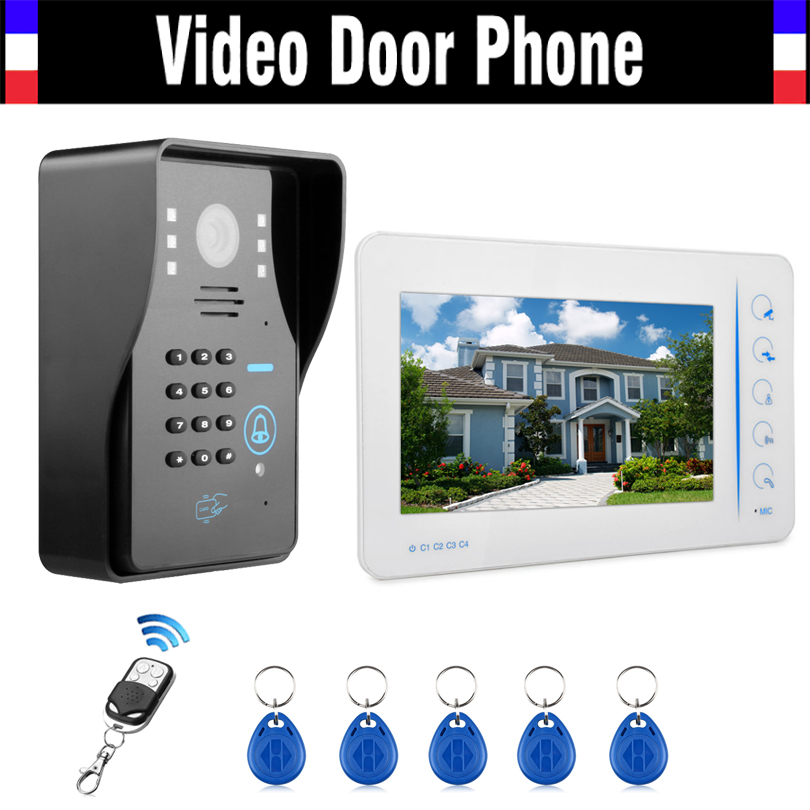 7 Touch LCD Monitor Wired Video Door Phone Intercom Video Doorbell with 5 PCS RFID Keyfob/Password/Remote control support CCTV