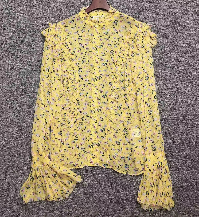 Yellow Floral printed muslin TWEET ANEMONE BLOUSE Ruffled Neck Long Sleeves Flared Cuffs fashion top
