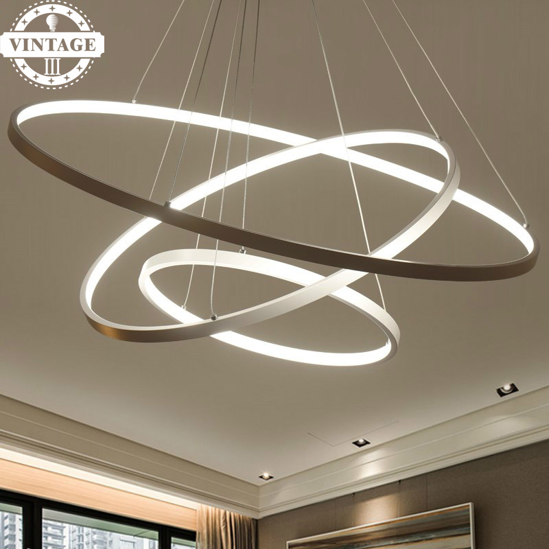 New arrival Circle Rings Acrylic Aluminum Body Modern Pendant Lights LED Ceiling Lamp Fixtures For Living Room Dining Room modern pendant lights for living room dining room dimming circle rings oval aluminum body led lighting ceiling lamp fixtures