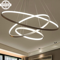 New Arrival Circle Rings Acrylic Aluminum Body Modern Pendant Lights LED Ceiling Lamp Fixtures For Living
