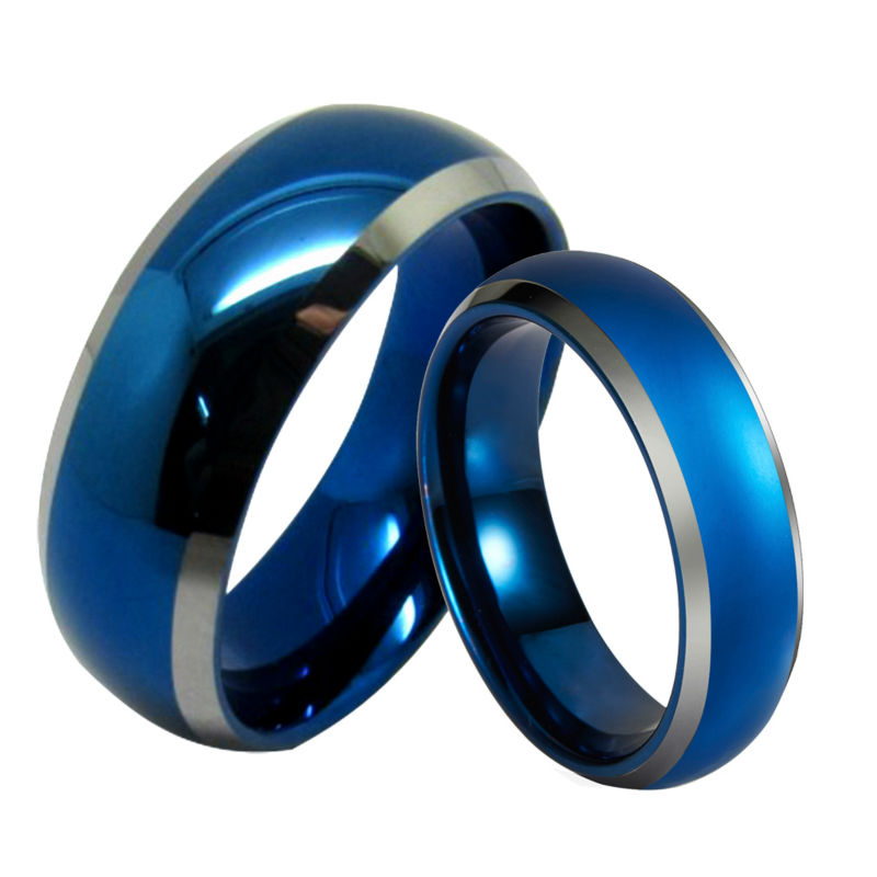 Queenwish 6mm/8mm Infinity Blue Silver Tungsten Carbide Ring Wedding Band Statement Dropshipping Mens Claddagh Promise Jewelry