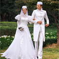 Abule Высокая Шея Свадебные Платья Мусульманские Кружева Аппликация Люкс Свадебные Платья халаты де мари Исламский Арабский Длинные Рукава