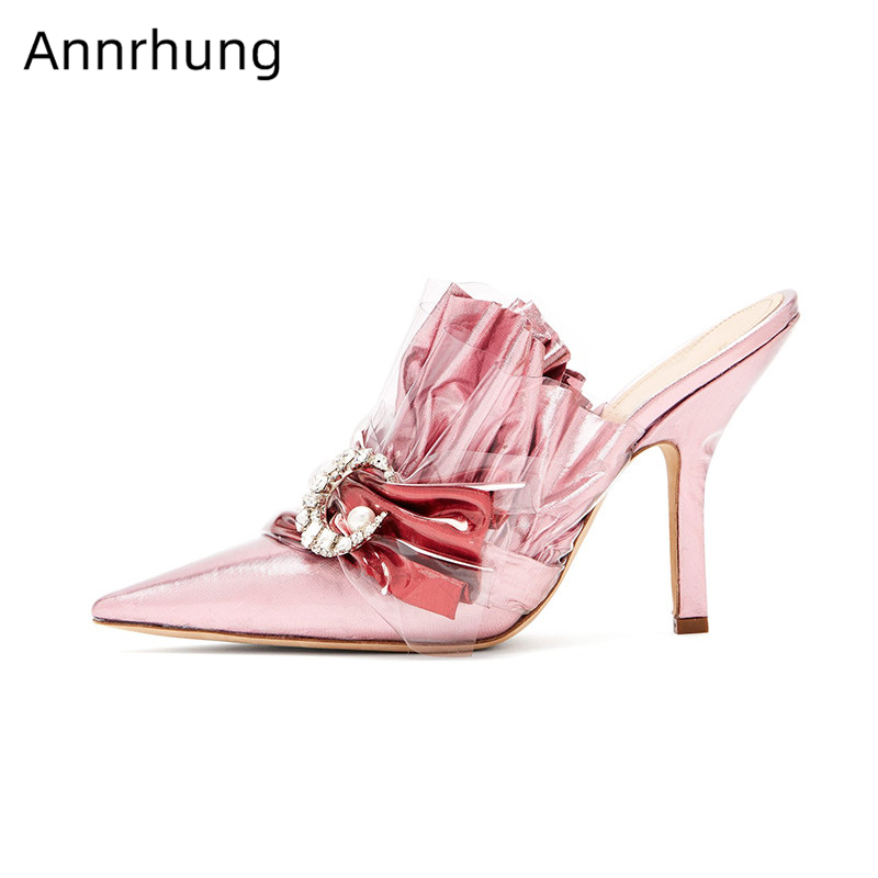 Pleated Ruffels Sandals Women 2019 Clear PVC Cover Metal Moon Decor Slingback Summer Shoes Woman Mixed Color Gladiator SandaliasPleated Ruffels Sandals Women 2019 Clear PVC Cover Metal Moon Decor Slingback Summer Shoes Woman Mixed Color Gladiator Sandalias