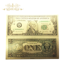 Wishonor Best price For Color USA Gold Banknotes 1 Dollar Banknote in 24k Paper Money Collection