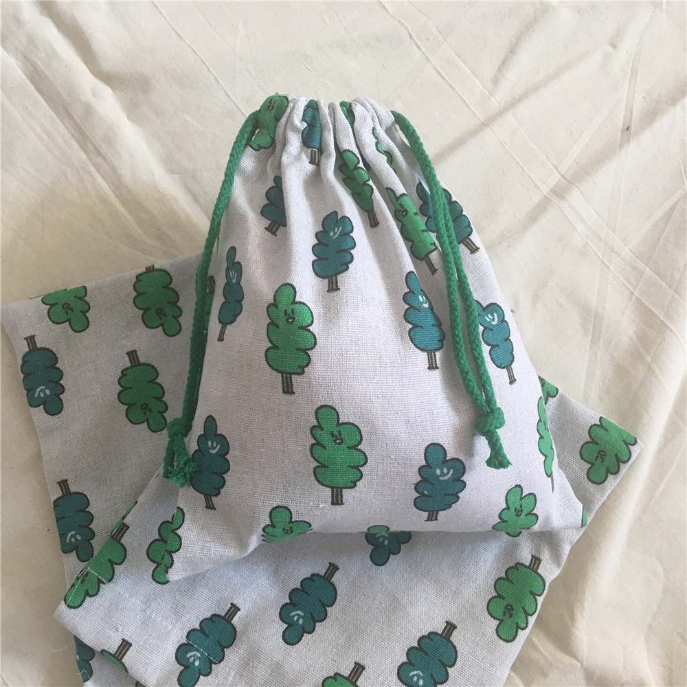 YILE Cotton Linen Drawstring Organized Pouch Cosmetic Bag Multi-purpose Bag Party Gift Bag Print Smiling Tree 8630a