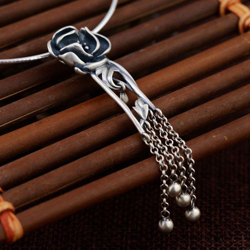 FNJ 925 Silver Flower Pendant Tassel 100% Pure S925 Solid Thai Silver Pendants for Women Men Jewelry Making