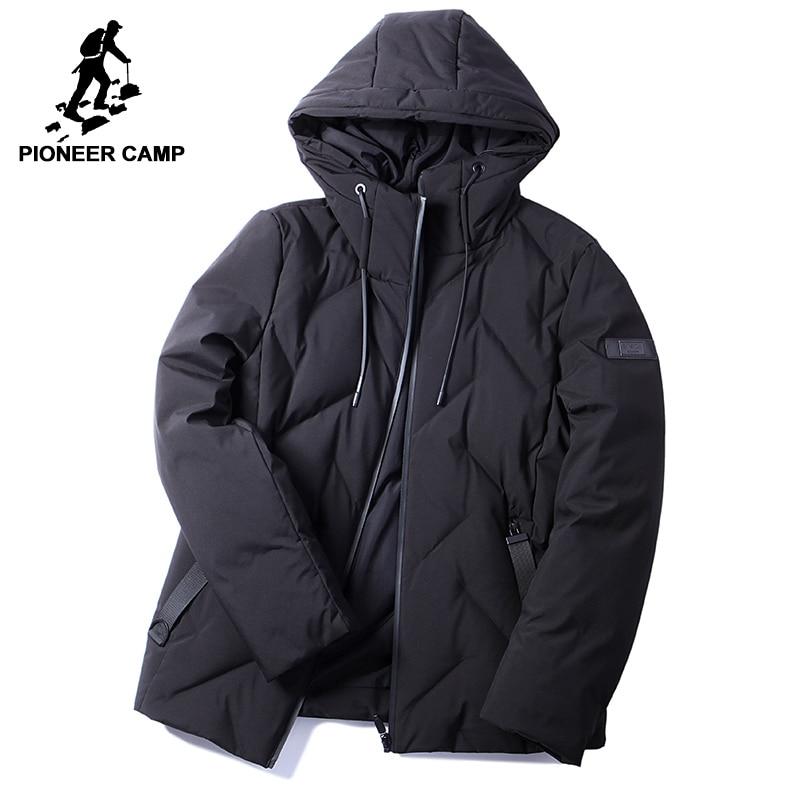 Пионерский лагерь новый стиль теплые зимние мужские пуховики брендовая одежда мод капюшоном Белые пуховики из 90% утиного пуха мужской черн...
