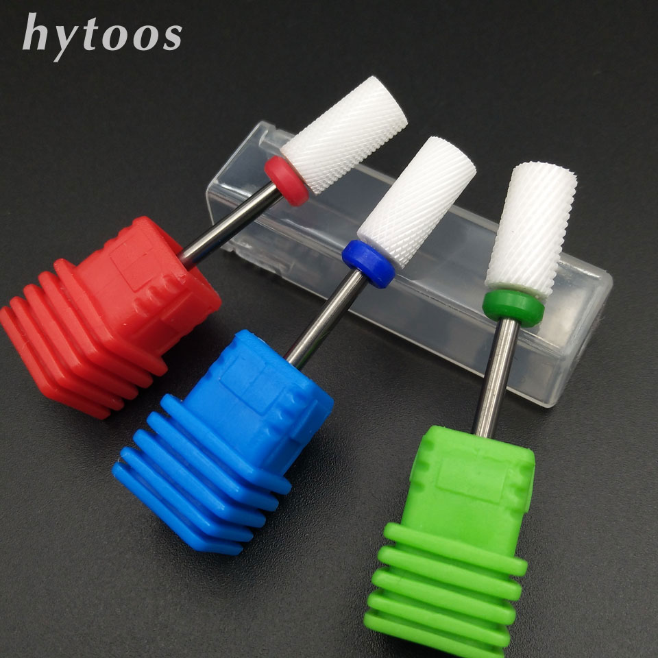HYTOOS 3 Type Barrel Ceramic Nail Drill Bit Rotate Burr Nail Milling Cutter Bits For Manicure