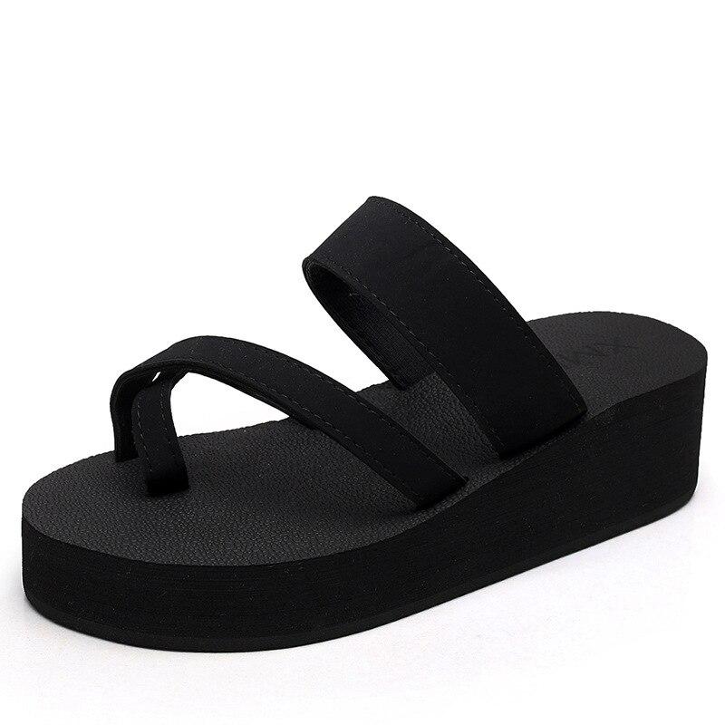 Brand 2018 Summer New High Quality Casual High Heels Girl Beach Slippers Platforms Slides Wedges Muffin Sandals Flip Flops Mules