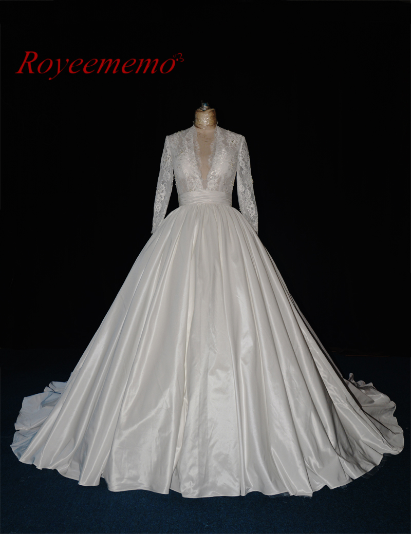 Royeememo real picture 2017 new lace Wedding dress taffeta skirt hot sale bridal dress ball gown custom made factory directly