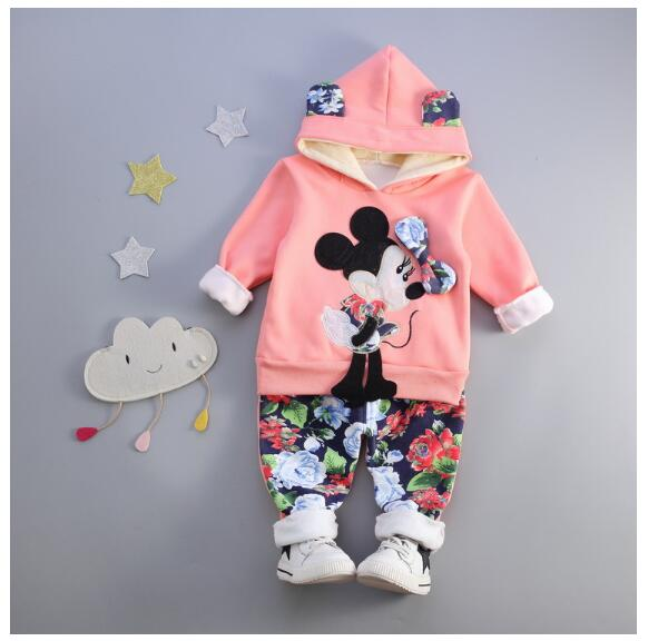 Girl's Fashion suits 2017 Winter Minnie Mouse Cartoons