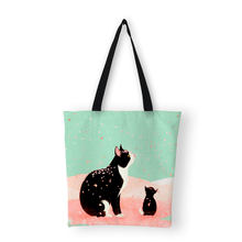 Canvas Tassen Voor Vrouwen 2019 Cartoon Kat Print Tote Tas Dames Handtassen Shopper Bag(China)