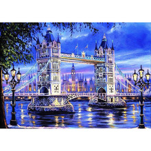 DIY 5D Diamond Embroidery Crystals  Mosaic Picture Tower bridge Landscape Round Painting Cross Stitch Kits