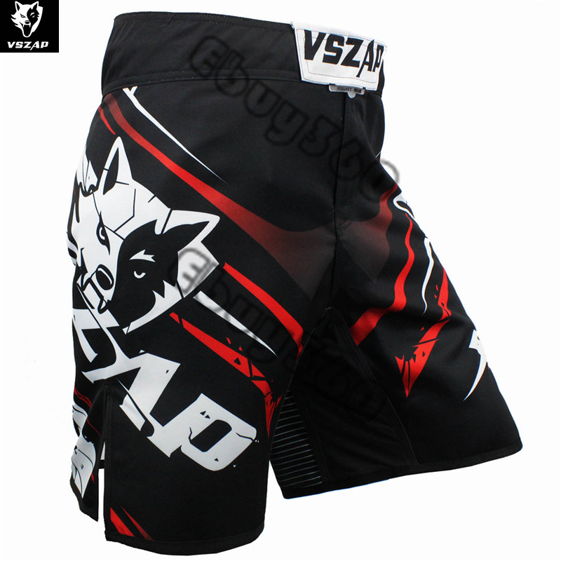 Prix pour VSZAP Loup Kick Boxing Shorts Hommes Femmes Polyester Plus La Taille Punching Kicking Taekwondo Kickboxing mma Bermudas muay thai