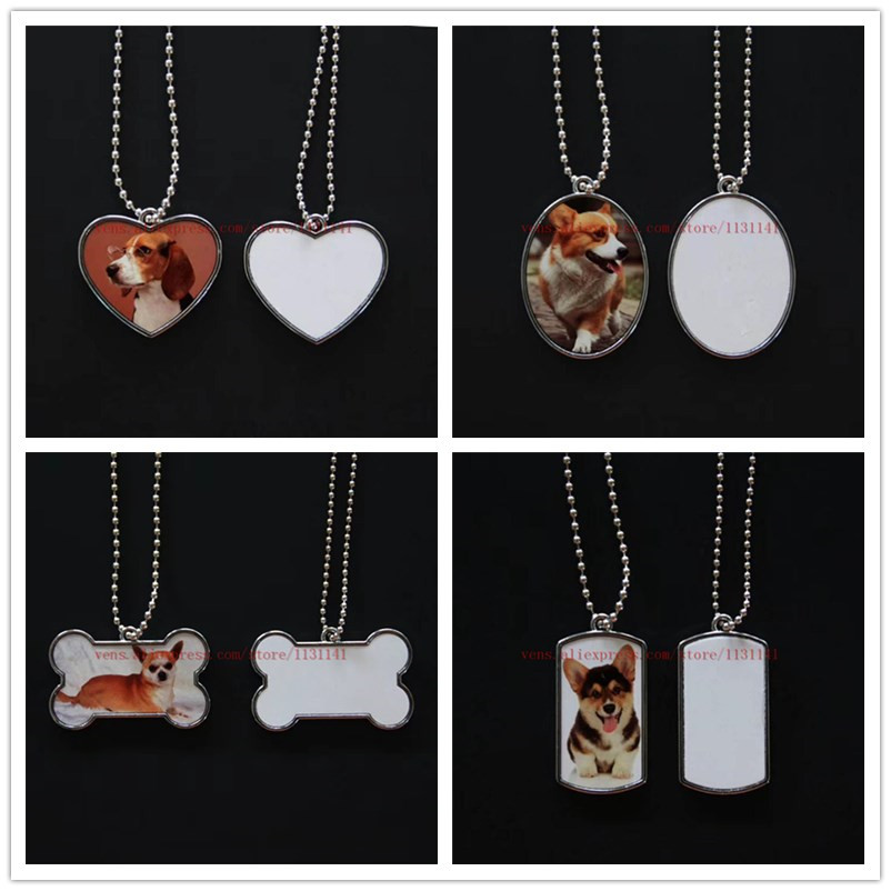 sublimation dog tag bone shield shape necklaces pendants hot transfer printing blank consumables 35pieces lot print