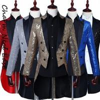Magician Sequin Tuxedo Men Theatrical dress Nightclub bar Host Canto blazer men floral 2018 Fashion Top Coats England jacket men