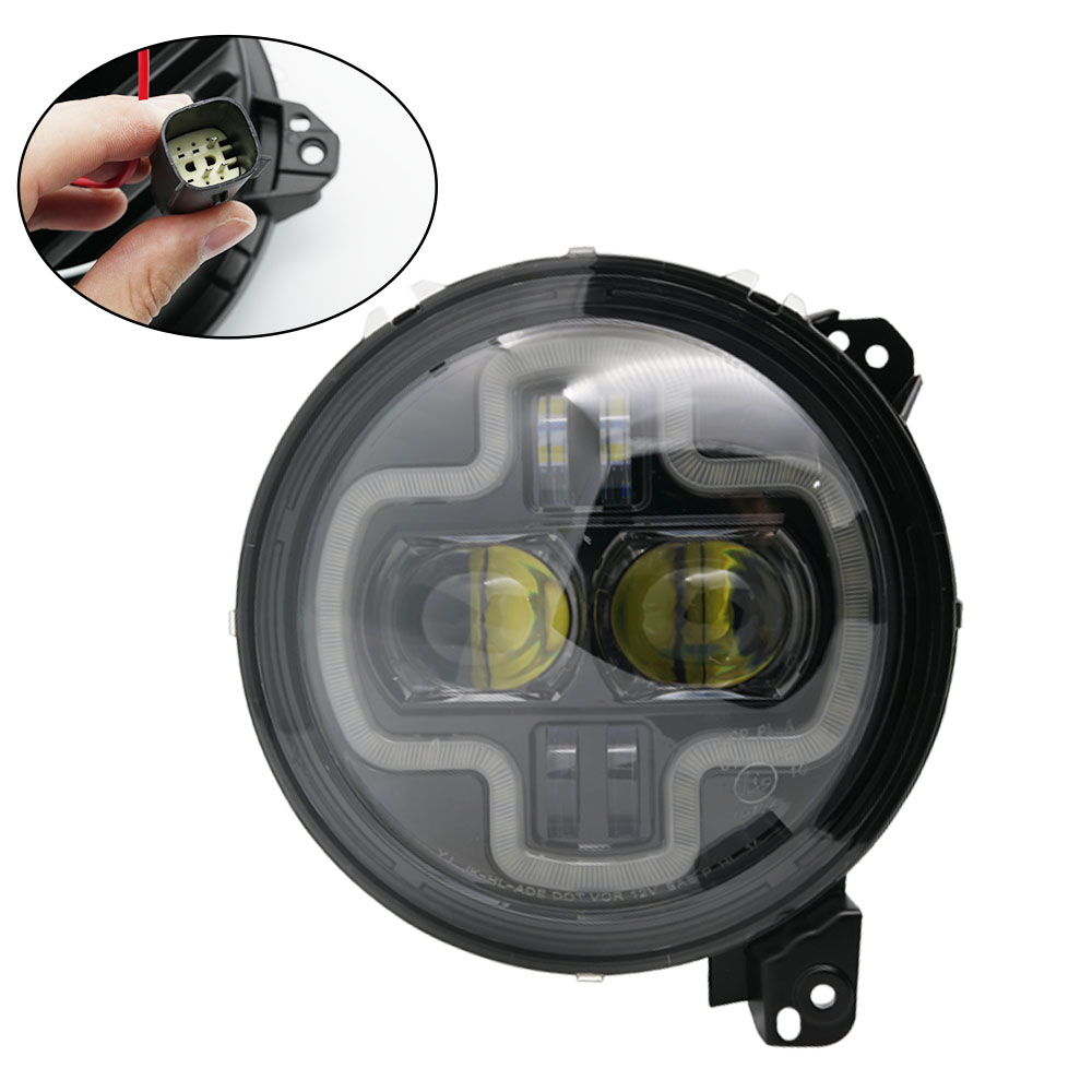 Car Lights 9inch Round LED Headlight White DRL Halo Ring Plug in Play for 2018 2019 Jeep Wrangler JL Car Headlight Assembly (17)