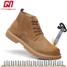 hot deal buy men's yellow boots fashion steel toe safety shoes cow leather safety boots breathable work shoes lace-up outdoor walk shoes men