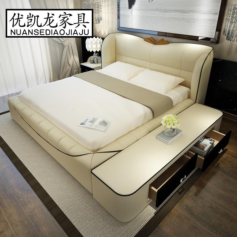 Conjuntos de muebles de dormitorio moderno king size de cuero marco ...