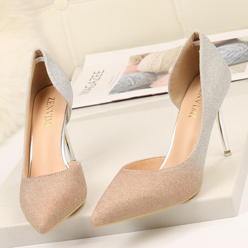 rosado Nueva gris Super Damas Y Nuevo Estados Unidos Tacón Alto Otoño Lado Mujer Gradiente Color 2019 púrpura Europa Oro De Bien Zapatos Los 4Rqwfq1d